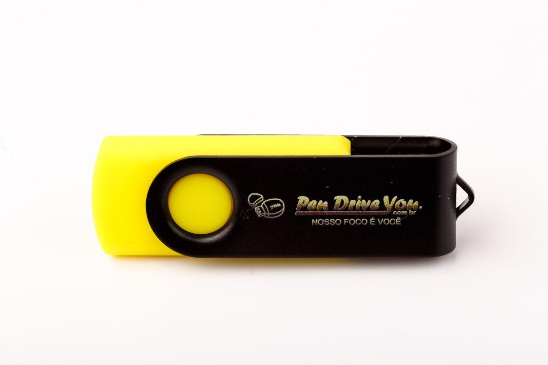 Pen Drive 4GB Giratório Full Color - Amarelo e Preto  Personalizado  - Pen Drive You