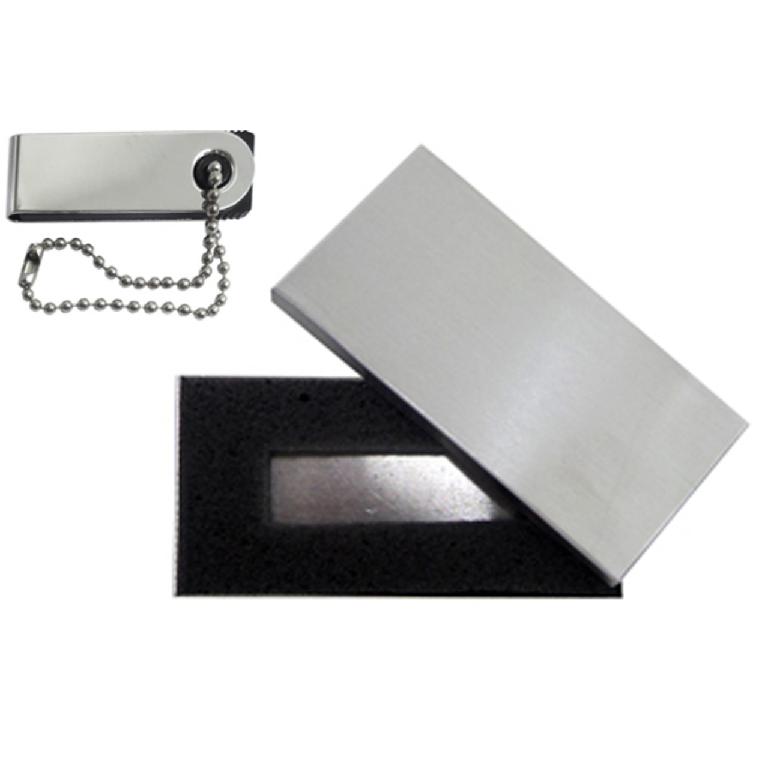 Kit Mini Pen Drive 4GB Slim Giratório + Case Metal Personalizados