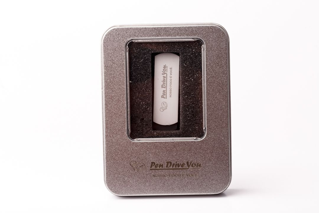 Kit Pen Drive 16GB Alumínio   + Case Metal G Personalizados