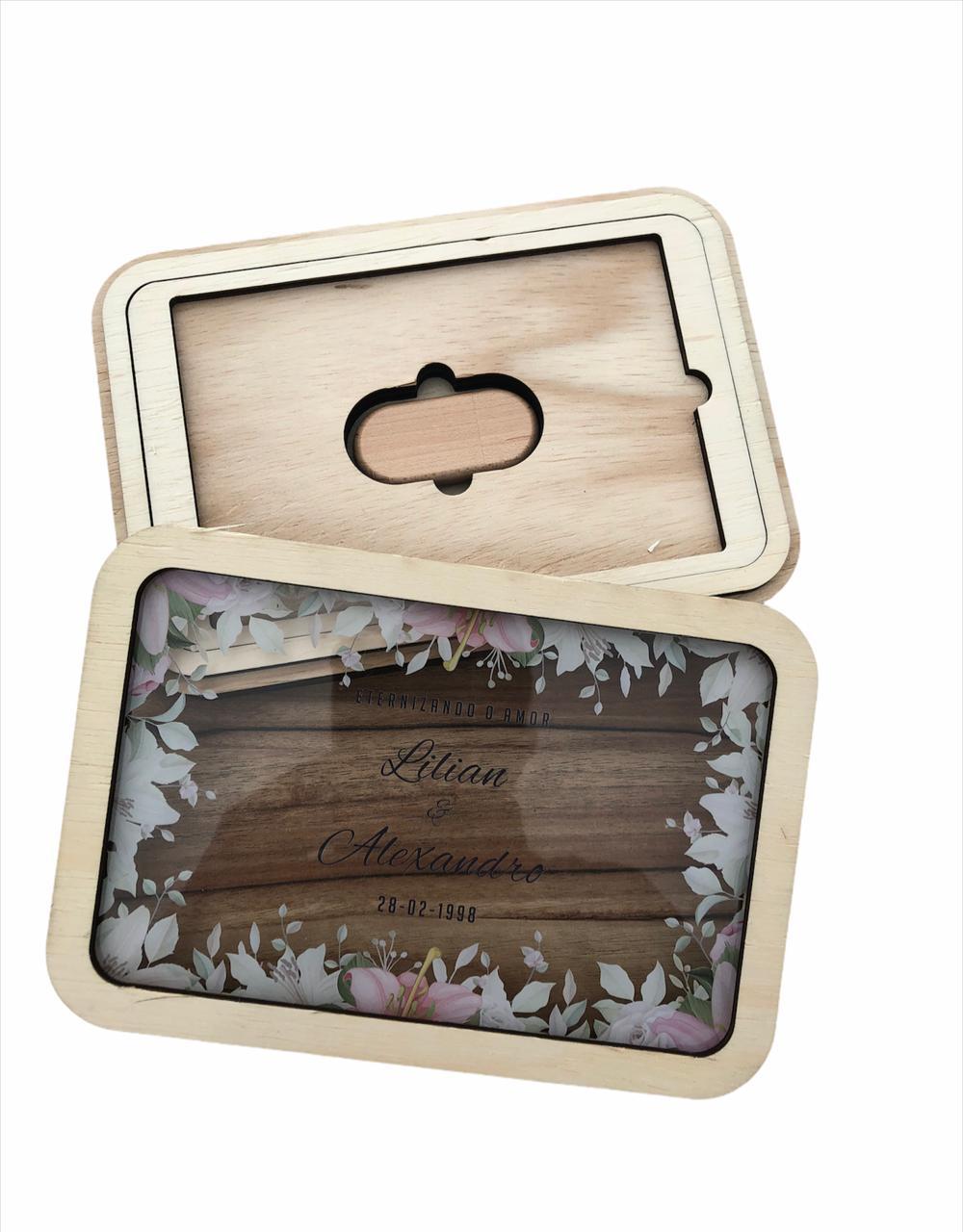 Kit Pen drive Retang bambu + Case Madeira p/ Foto 10x15 WFV10