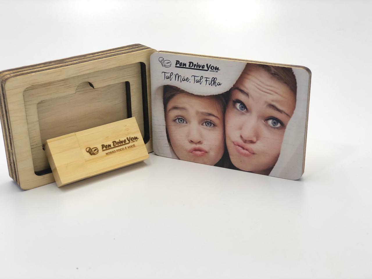 Kit Pen Drive Retangular Largo + Case Wood Frame 1  - Pen Drive You
