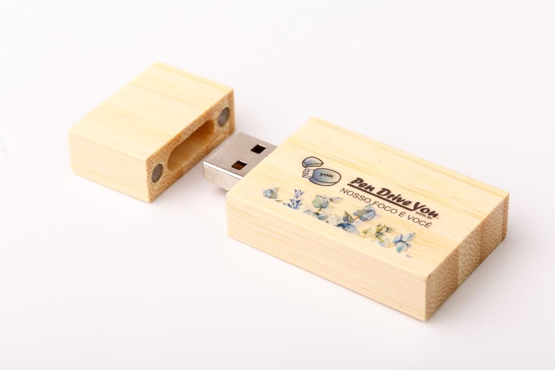 Kit Pen Drive Retangular Largo Madeira  Bambú + Case Wood Câm filme
