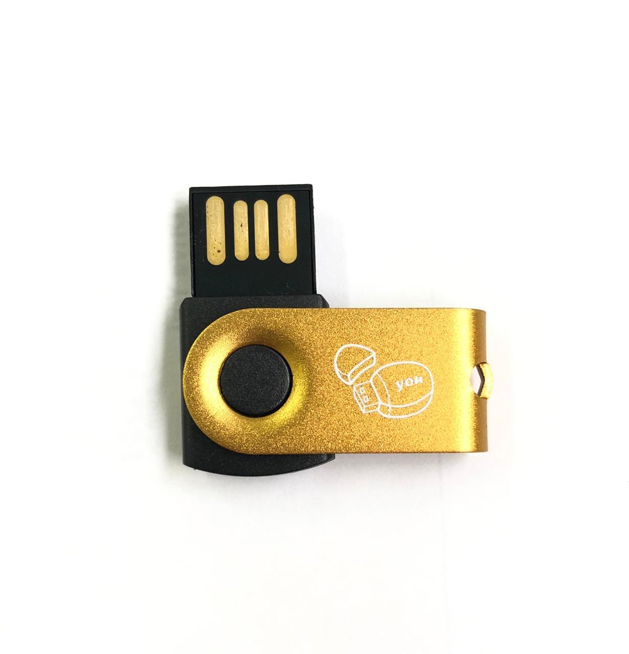 Mini Pen Drive 4G Giratório Full Color - Dourado Personalizado  - Pen Drive You