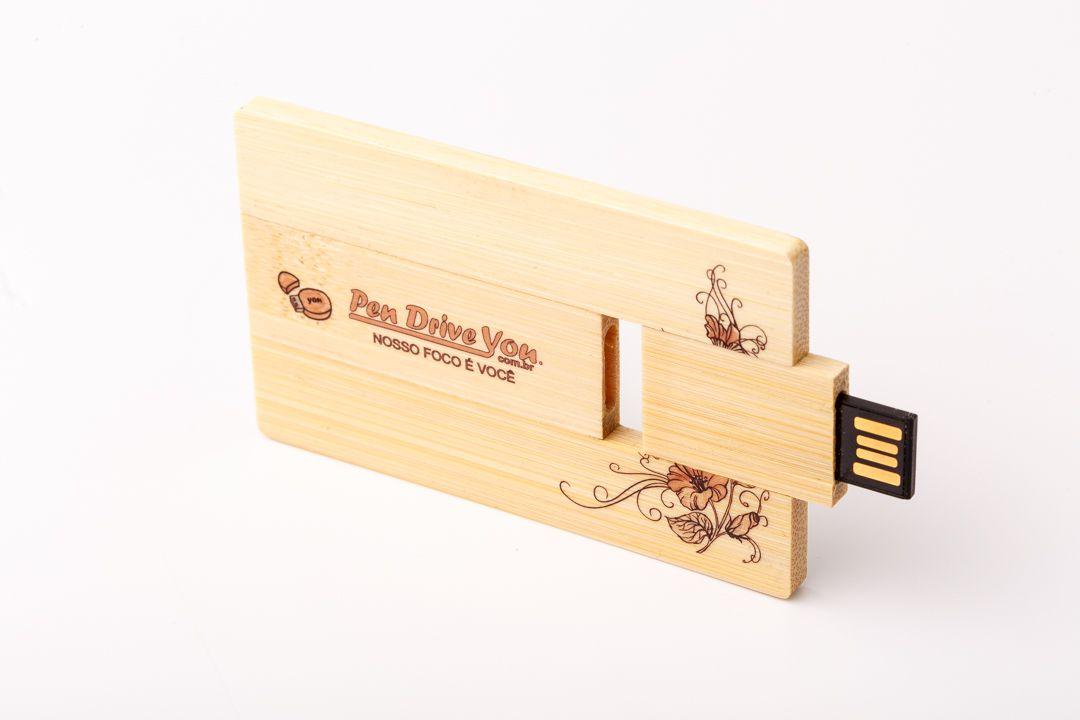 Pen Card 16GB Retangular Madeira Bambú Personalizado