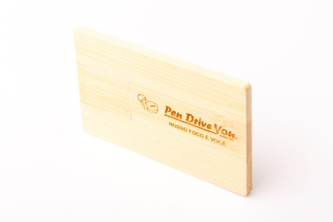 Pen Card 4GB Retangular Madeira Maple Personalizado