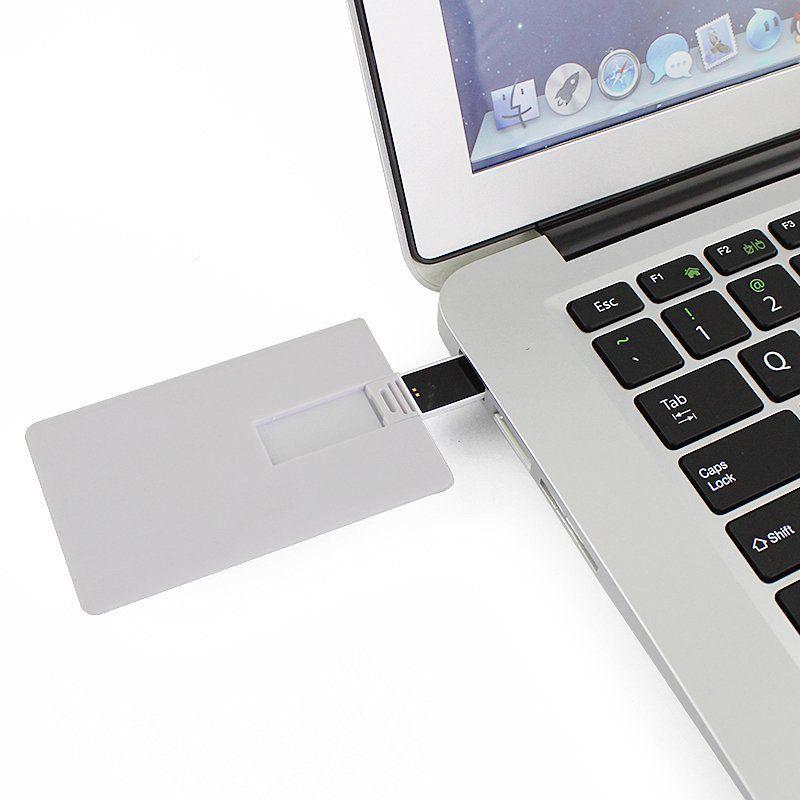 Pen Card 8GB Plástico Retangular Grande Branco Personalizado