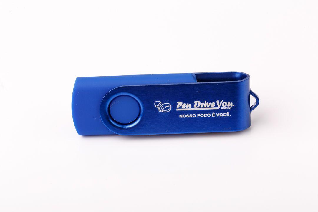 Pen Drive 16G Giratório Full Color - Azul  Total Personalizado