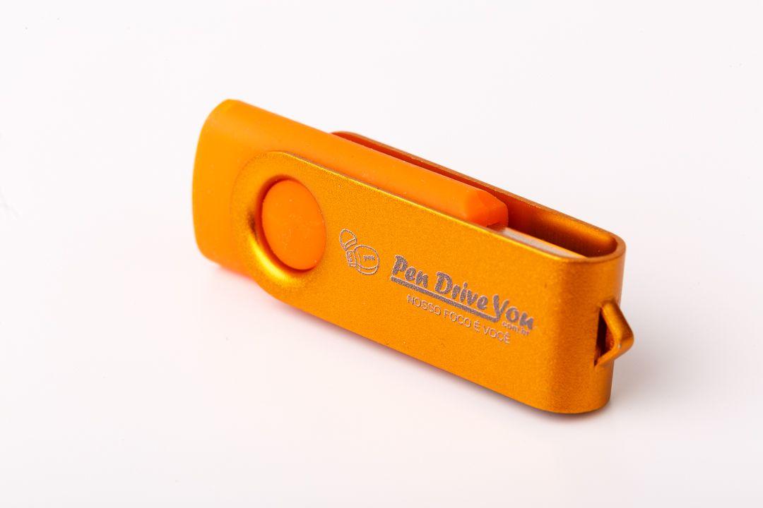 Pen Drive 16G Giratório Full Color - Laranja + Ouro Total Personalizado