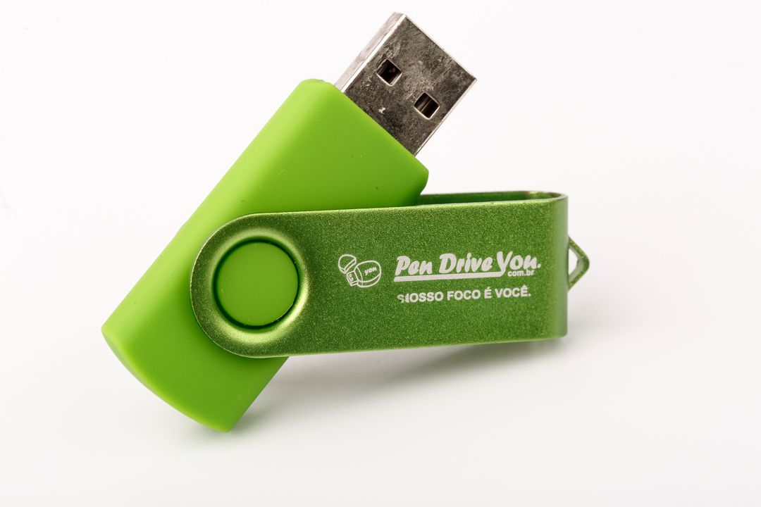 Pen Drive 16G Giratório Full Color - Verde Total Personalizado  - Pen Drive You