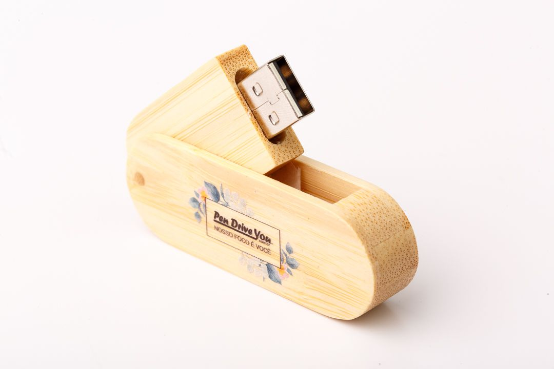 Pen Drive 16GB Canivete Jumbo de Madeira Bambú   - Pen Drive You