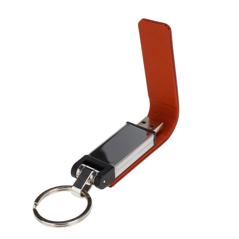 Pen Drive 16GB Couro Retangular Marrom  Personalizado