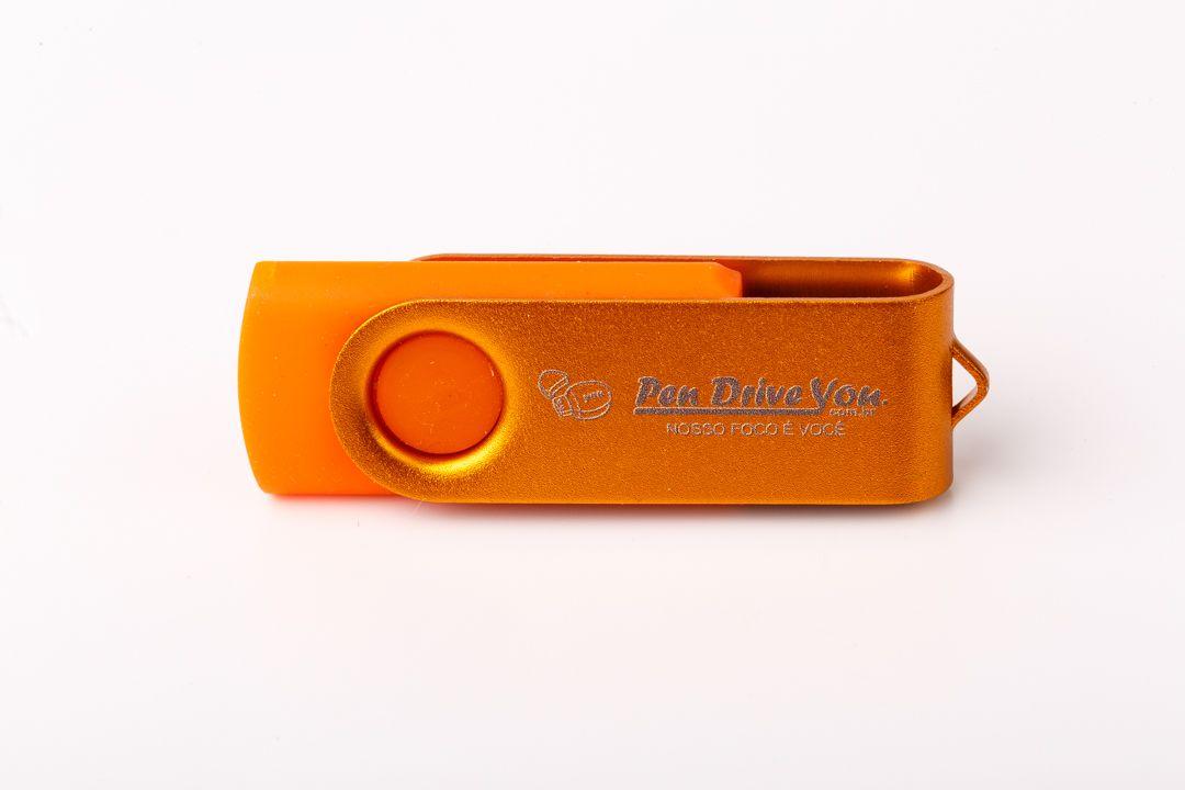 Pen Drive 16GB Giratório Full Color Laranja  - Pen Drive You