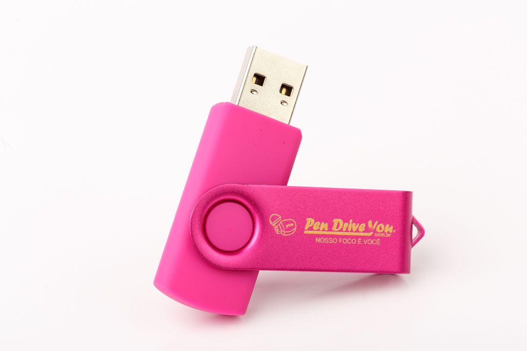 Pen Drive 16GB Giratório Full Color Pink  - Pen Drive You