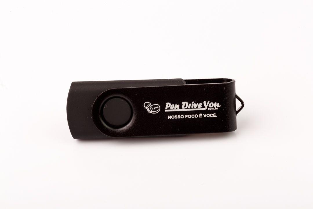 Pen Drive 16GB Giratório Full Color Preto  - Pen Drive You