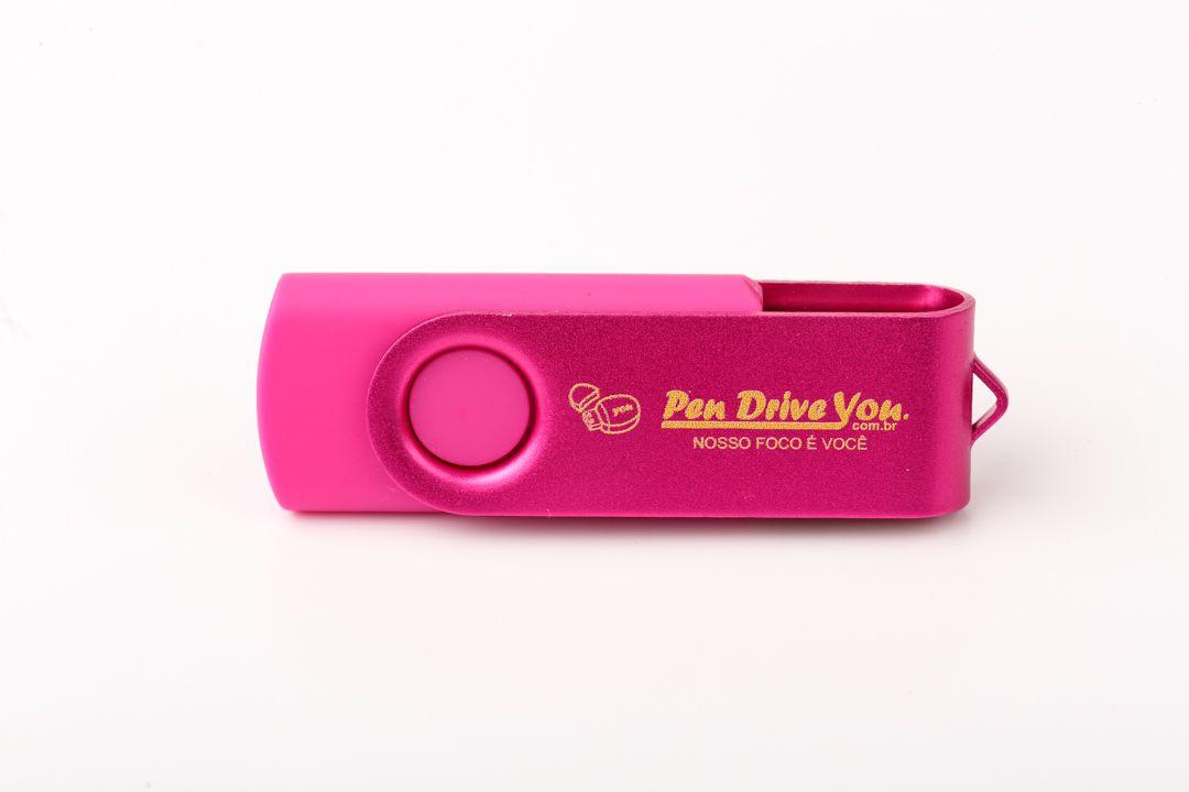 Pen Drive 16GB Giratório Full Color -  Rosa  Total  Personalizado
