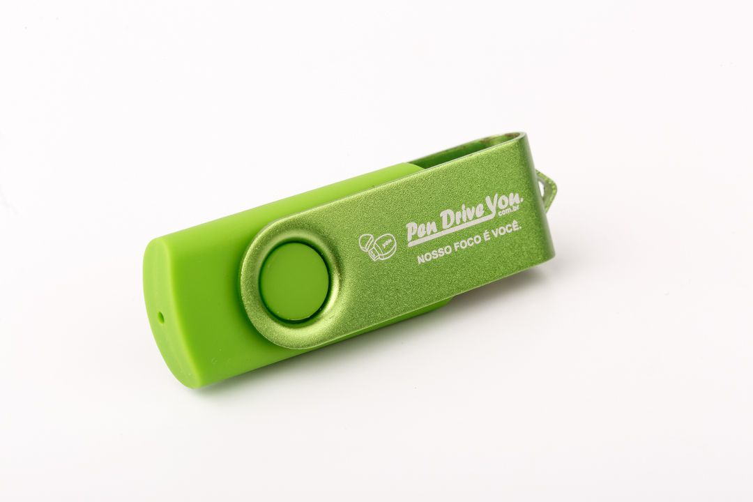 Pen Drive 16GB Giratório Full Color Verde  - Pen Drive You