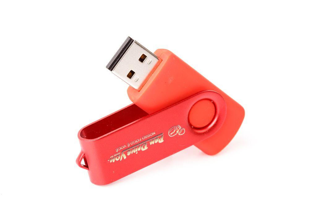 Pen Drive 16GB Giratório Full Color Vermelho  - Pen Drive You