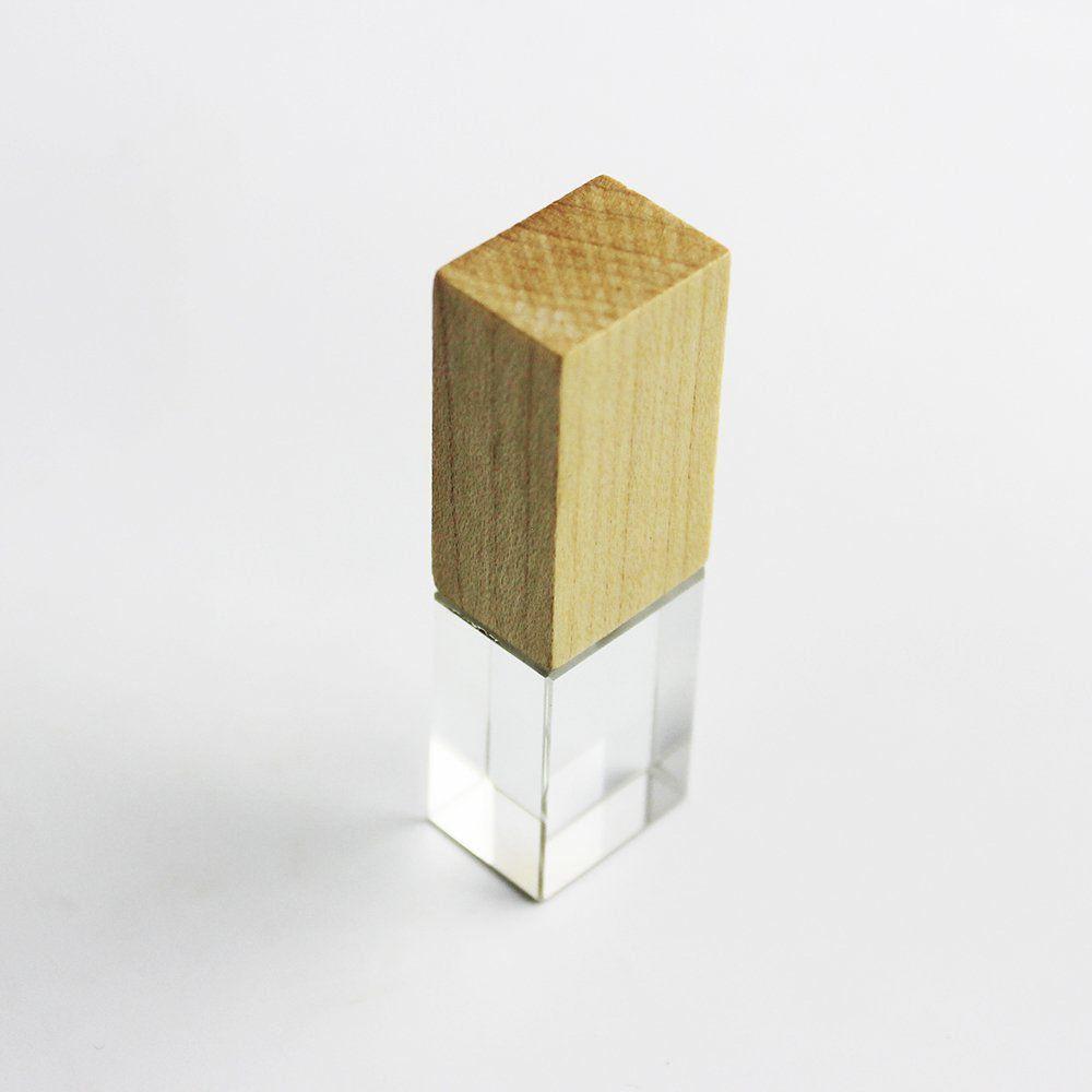 Pen Drive 32GB Cristal Madeira Bambú com Tampa Personalizado