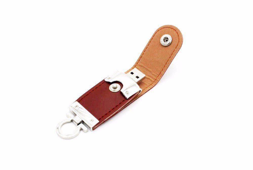 Pen Drive 32GB de Couro Marrom c/ Argola como Chaveiro  - Pen Drive You