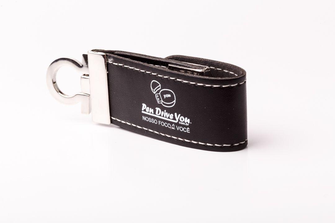 Pen Drive 32GB de Couro Preto com Argola Personalizado para Chaveiro