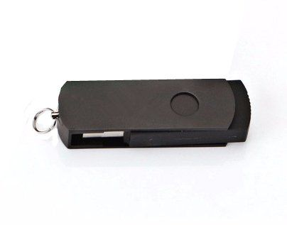 Pen Drive 32GB Giratório Alumínio Preto Total Personalizado