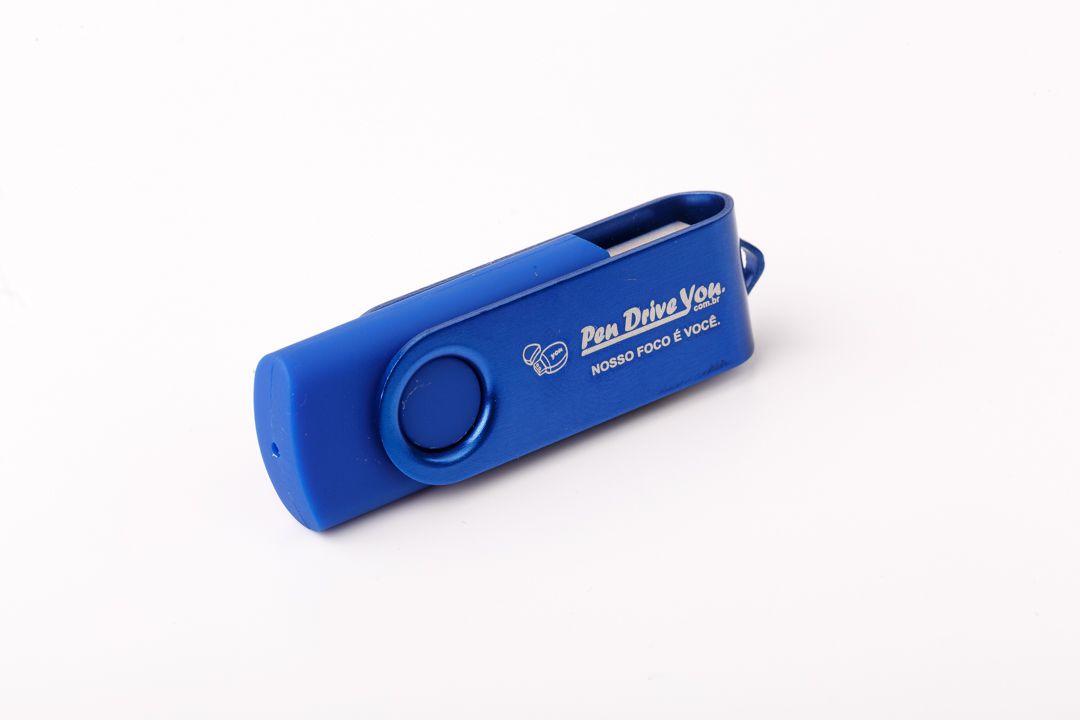 Pen Drive 32GB Giratório Full Color Azul  - Pen Drive You