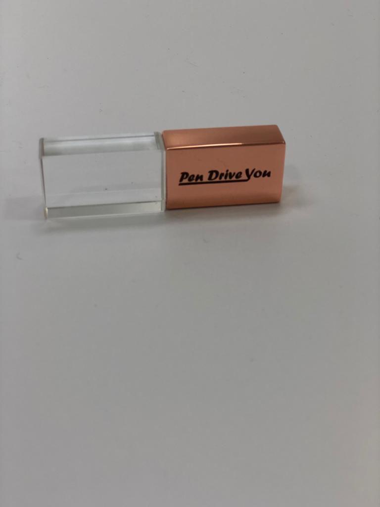 Pen Drive 32GB Metal Gold Rose e Cristal com Tampa Personalizado