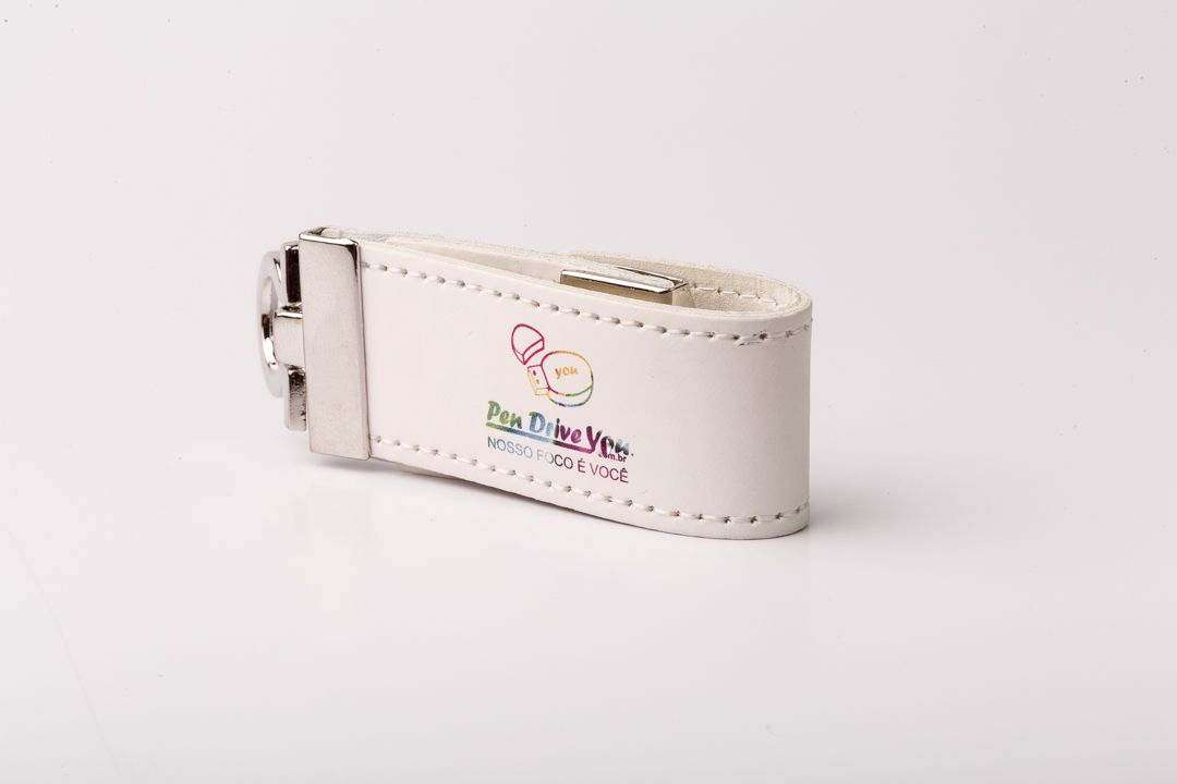 Pen Drive 4GB Couro Argola Branco mod Chaveiro Personalizado