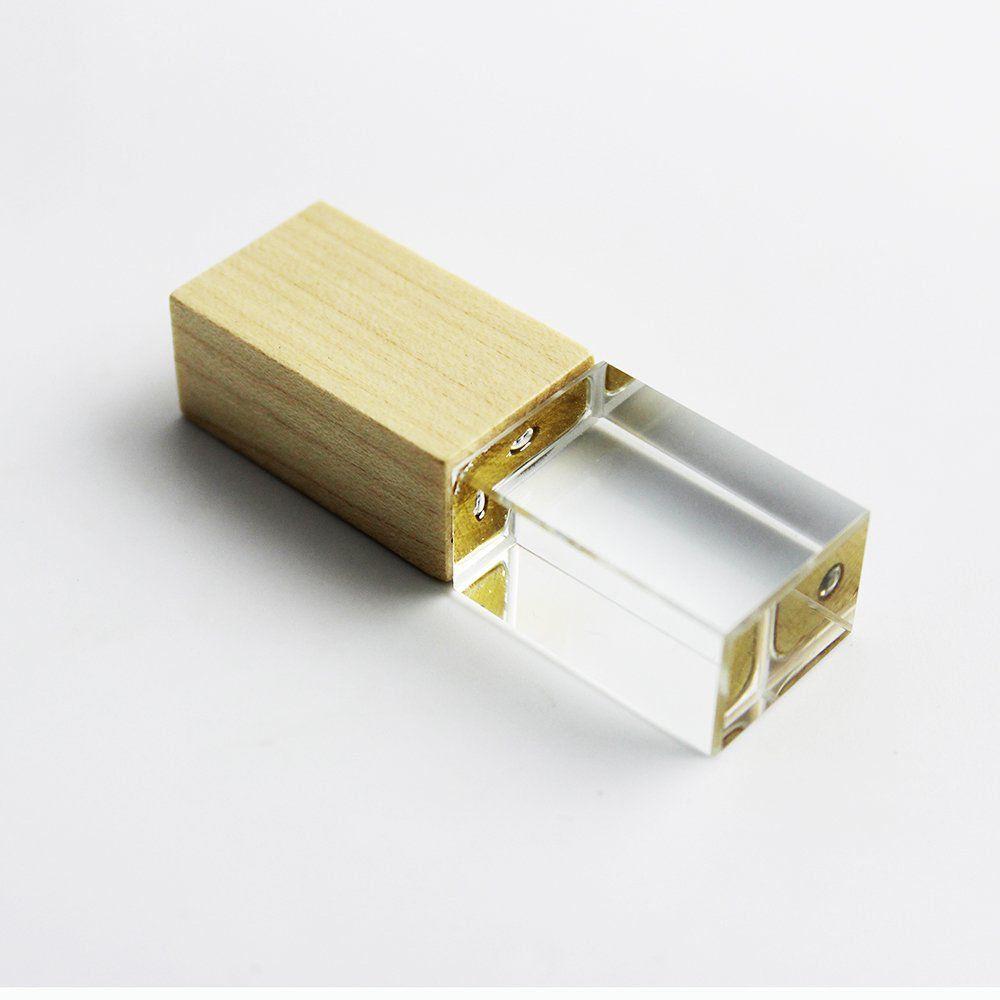 Pen Drive 4GB Cristal Madeira Bambú com Tampa Personalizado