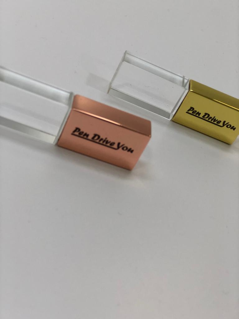 Pen Drive 4GB Metal Gold Rose e Cristal com Tampa Personalizado