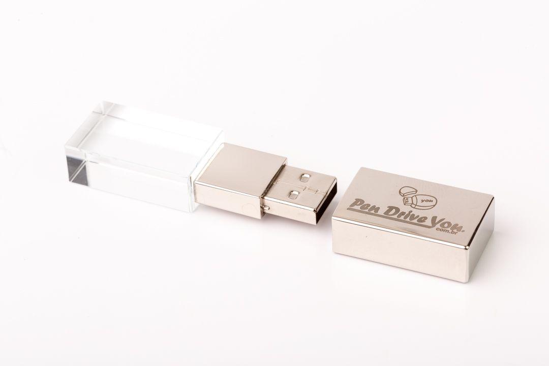 Pen Drive 4GB  Metal Prata Cristal com Tampa Personalizado