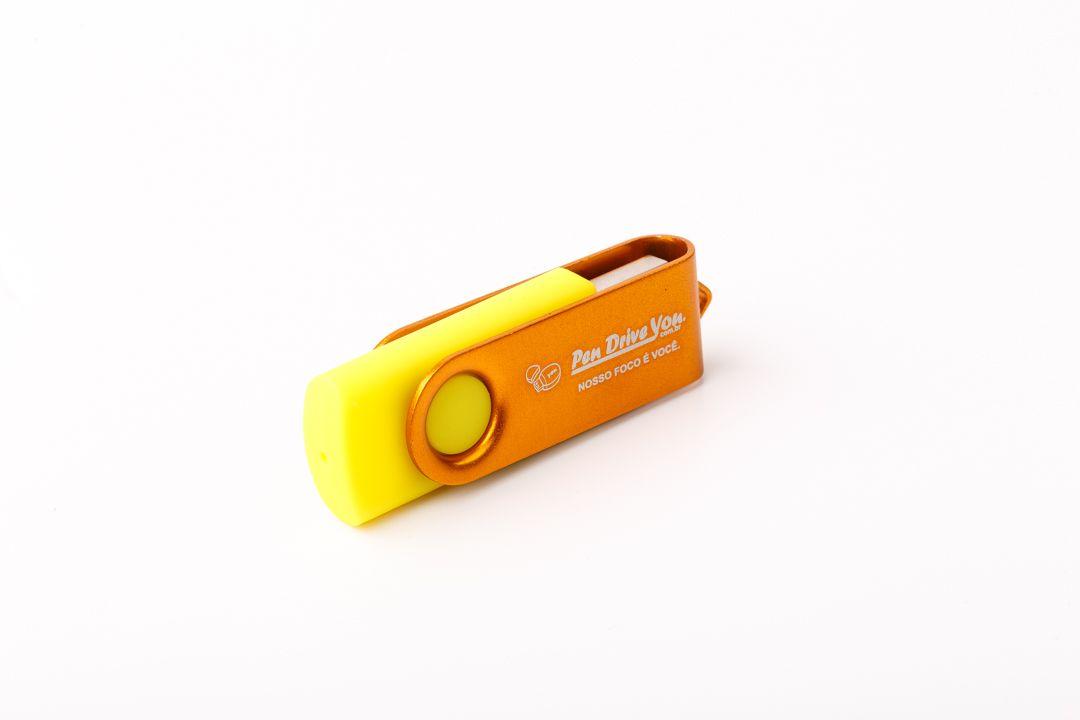 Pen Drive 8G Giratório Full Color - Amarelo Total Personalizado
