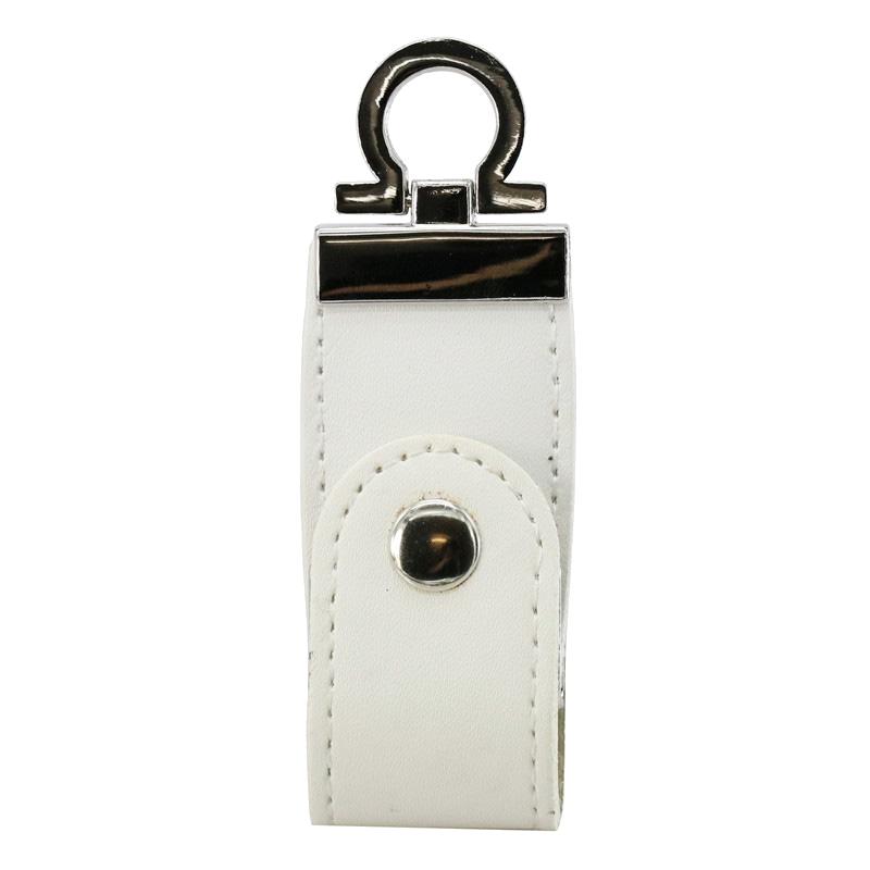 Pen Drive 8GB Couro Argola Chaveiro Branco Personalizado
