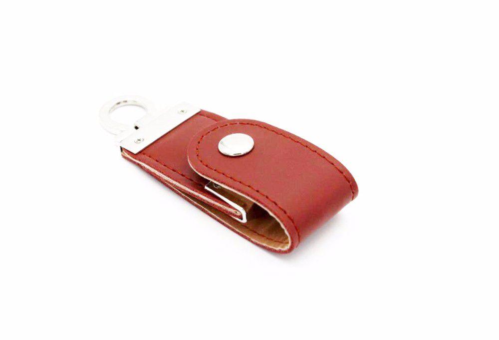 Pen Drive 8GB Couro Argola Chaveiro Marrom Personalizado
