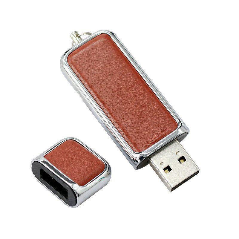 Pen Drive 8GB Couro Cap para Chaveiro Marrom Personalizado