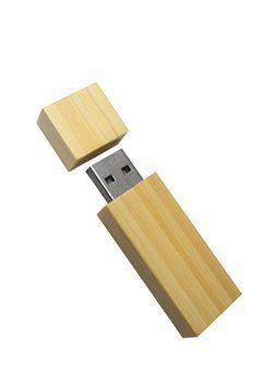 Pen Drive 8GB Retangular Madeira Bambú com Tampa Personalizado  - Pen Drive You