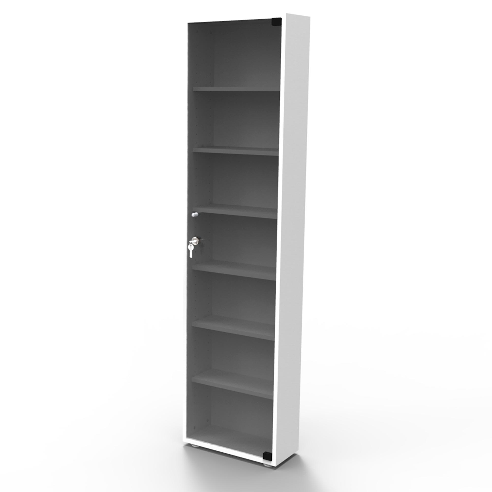Estante 175 DVDs branca + porta vidro fumê com chave DV175BRF Bürohaus