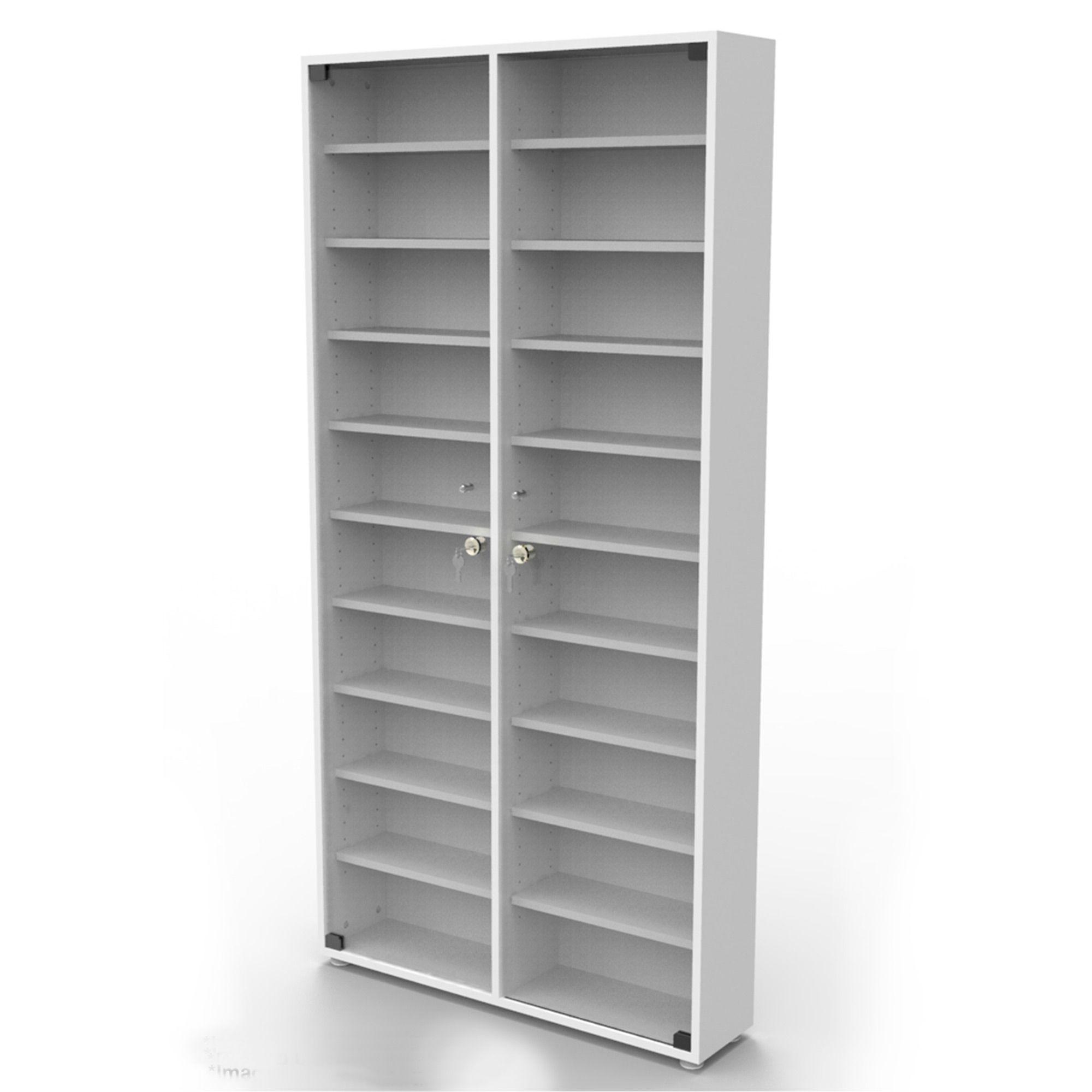 Estante 740 CDs branca + porta vidro incolor com chave CD740BRIC Bürohaus