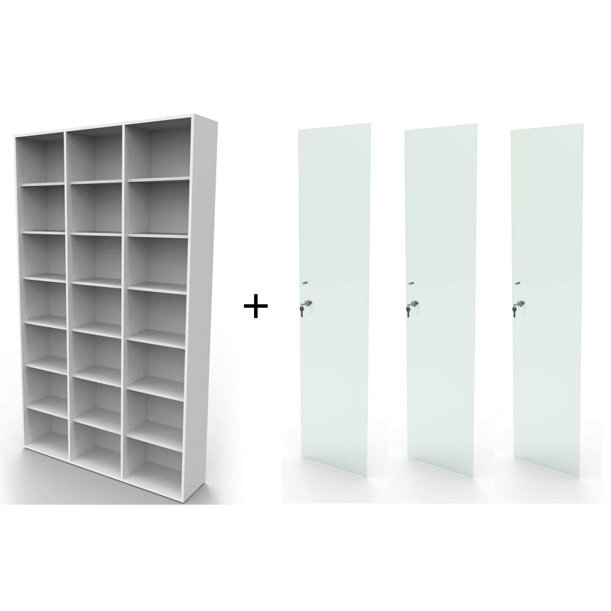 Estante biblioteca bookcase branca BK03BR com porta de vidro Bürohaus