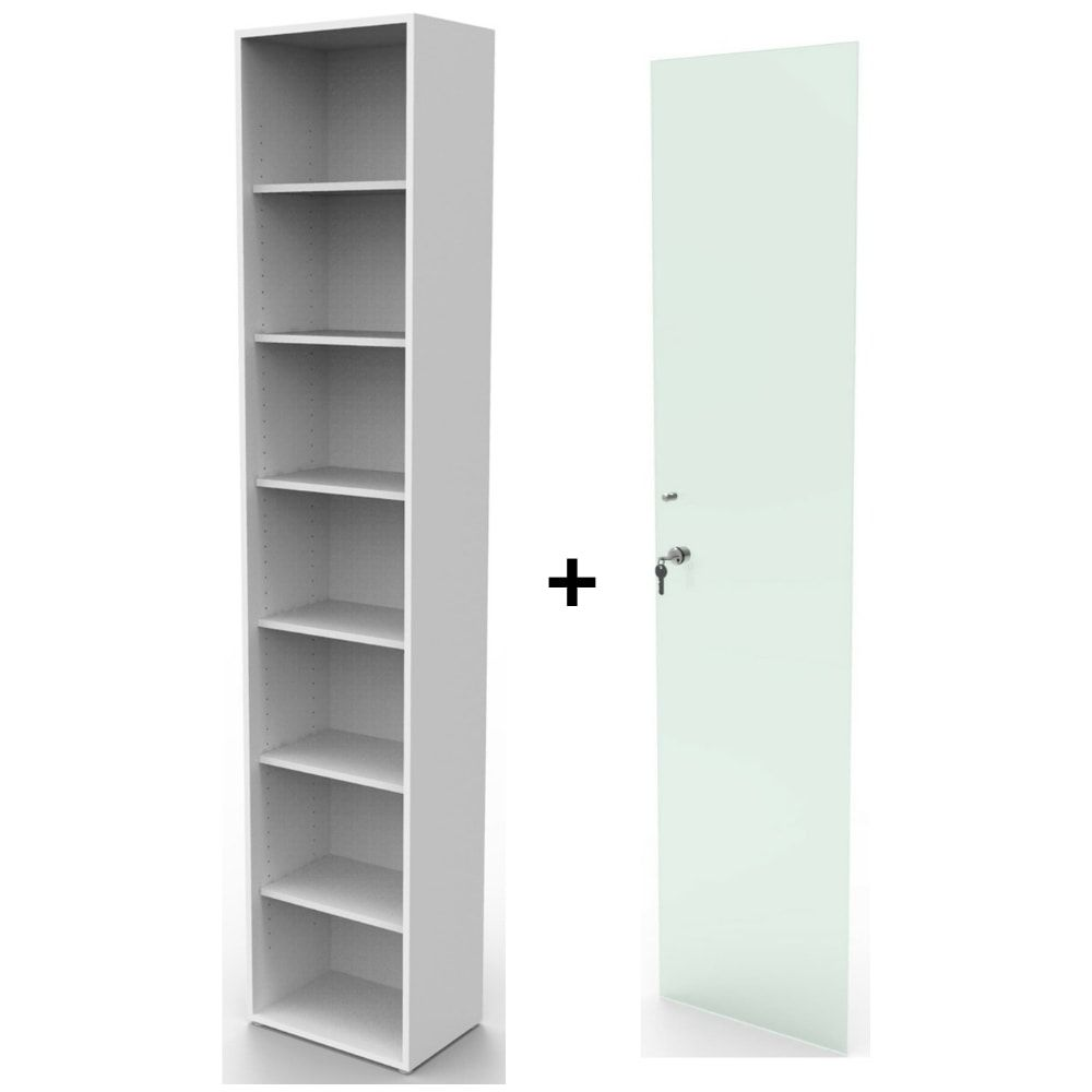 Estante bookcase BK01BR com porta de vidro com chave