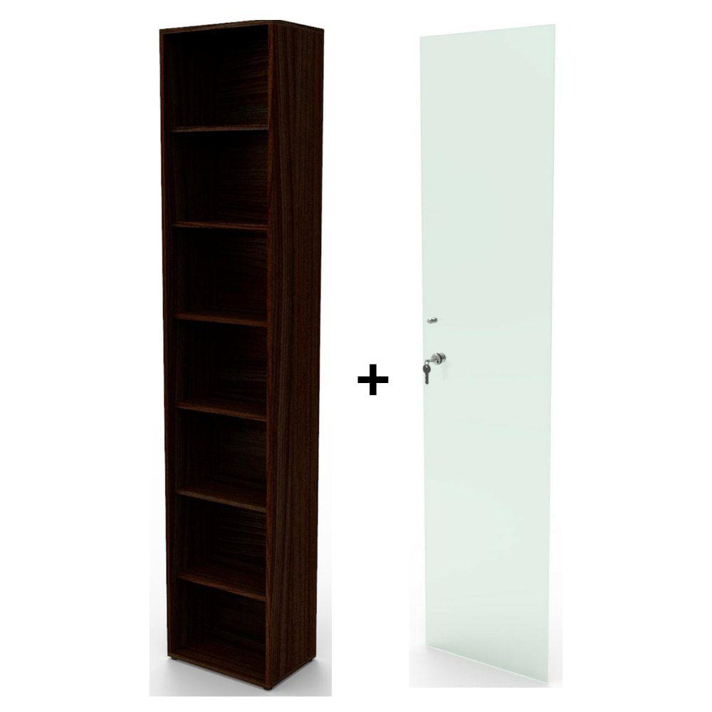 Estante bookcase BK01TB com porta de vidro com chave