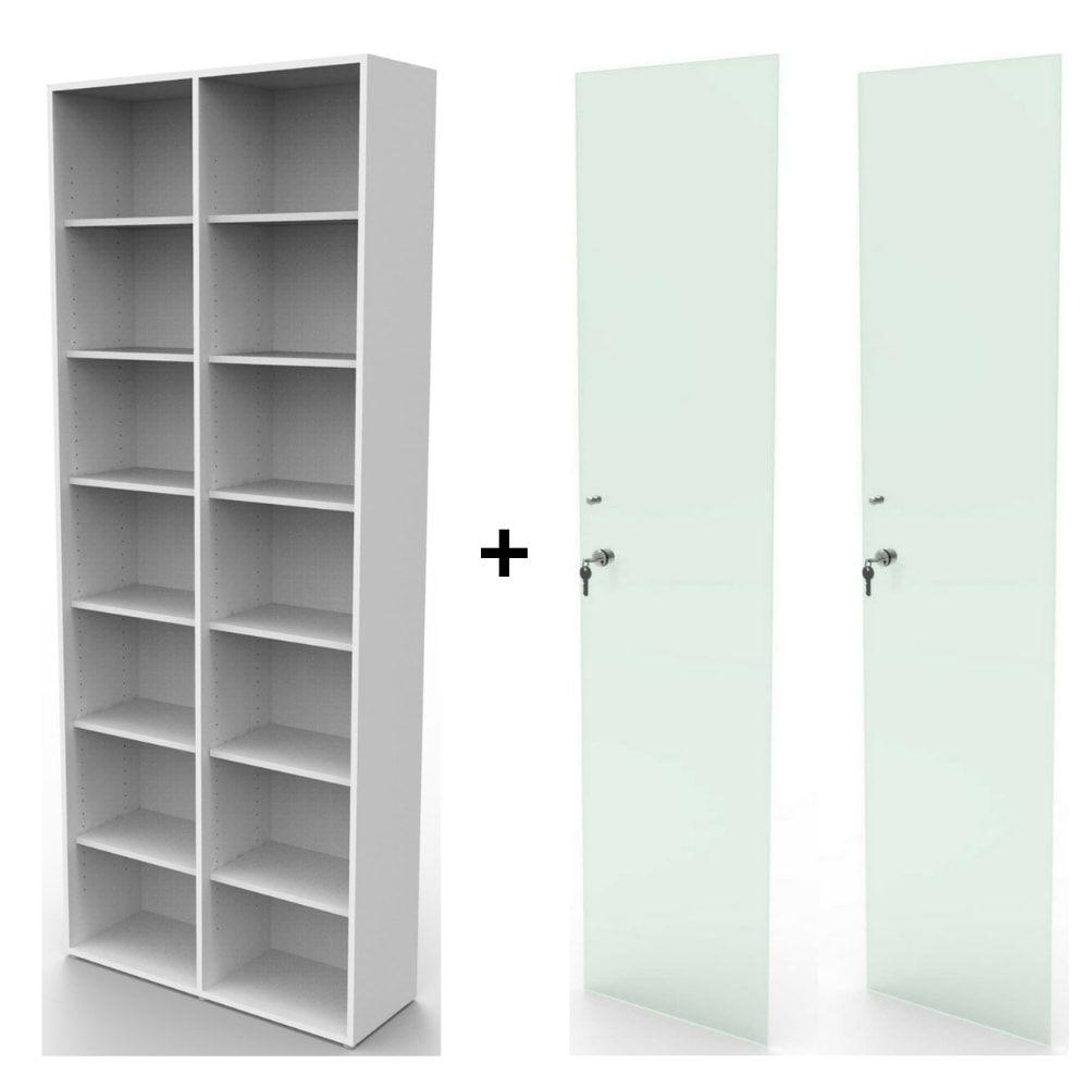 Estante bookcase BK02BR com porta de vidro com chave
