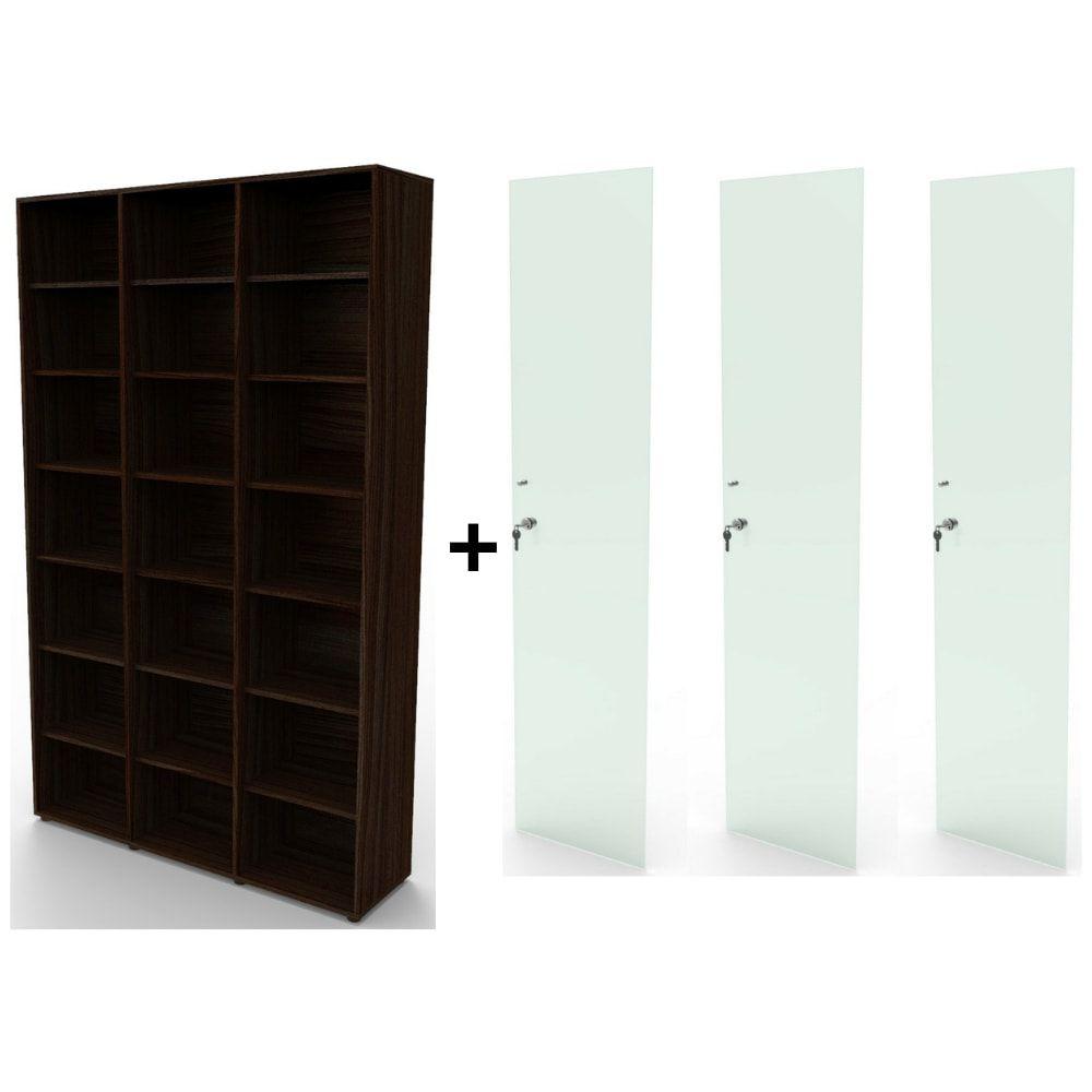Estante bookcase BK03TB com porta de vidro com chave