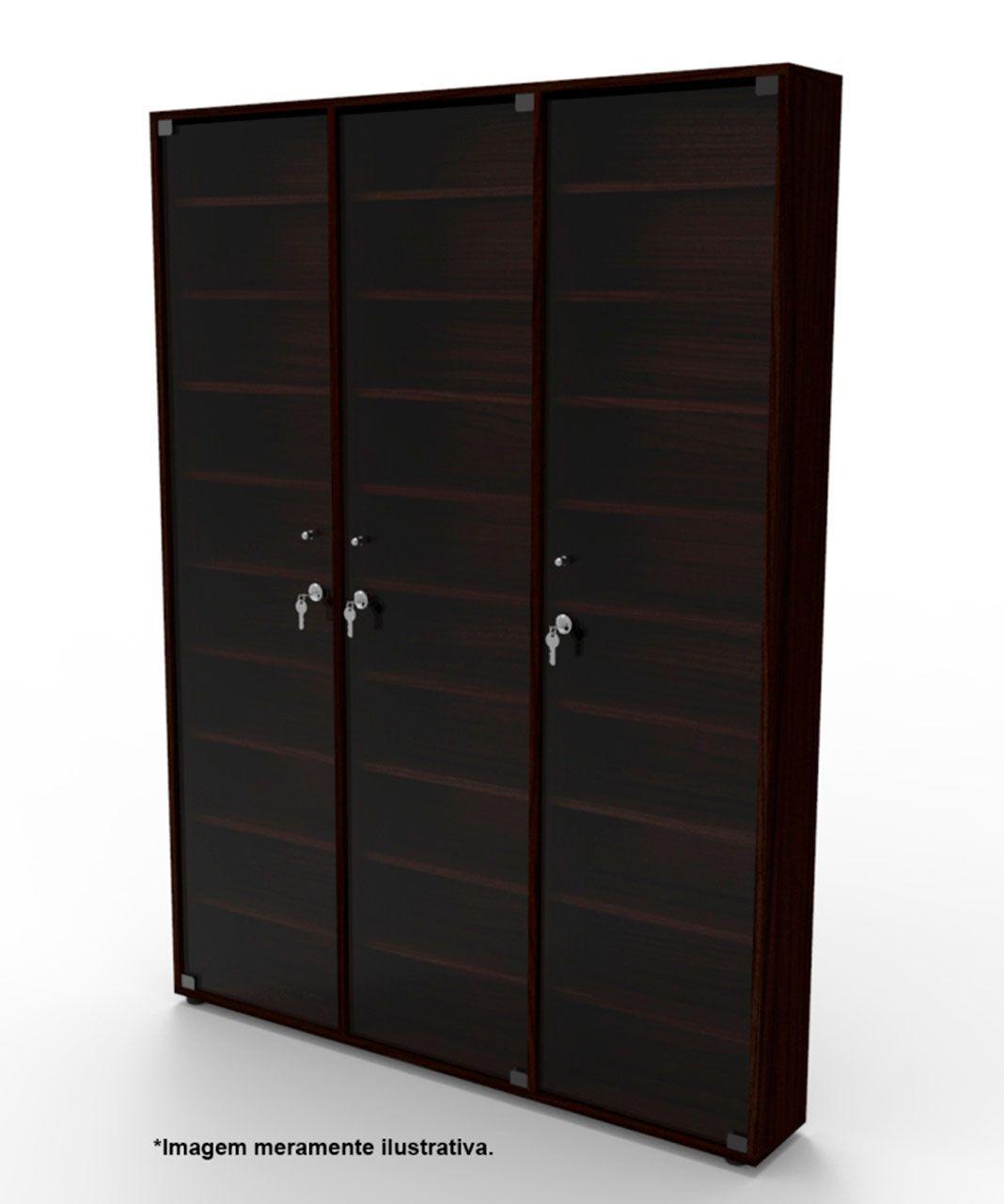 Estante CD03TB com porta de vidro incolor com chave Bürohaus
