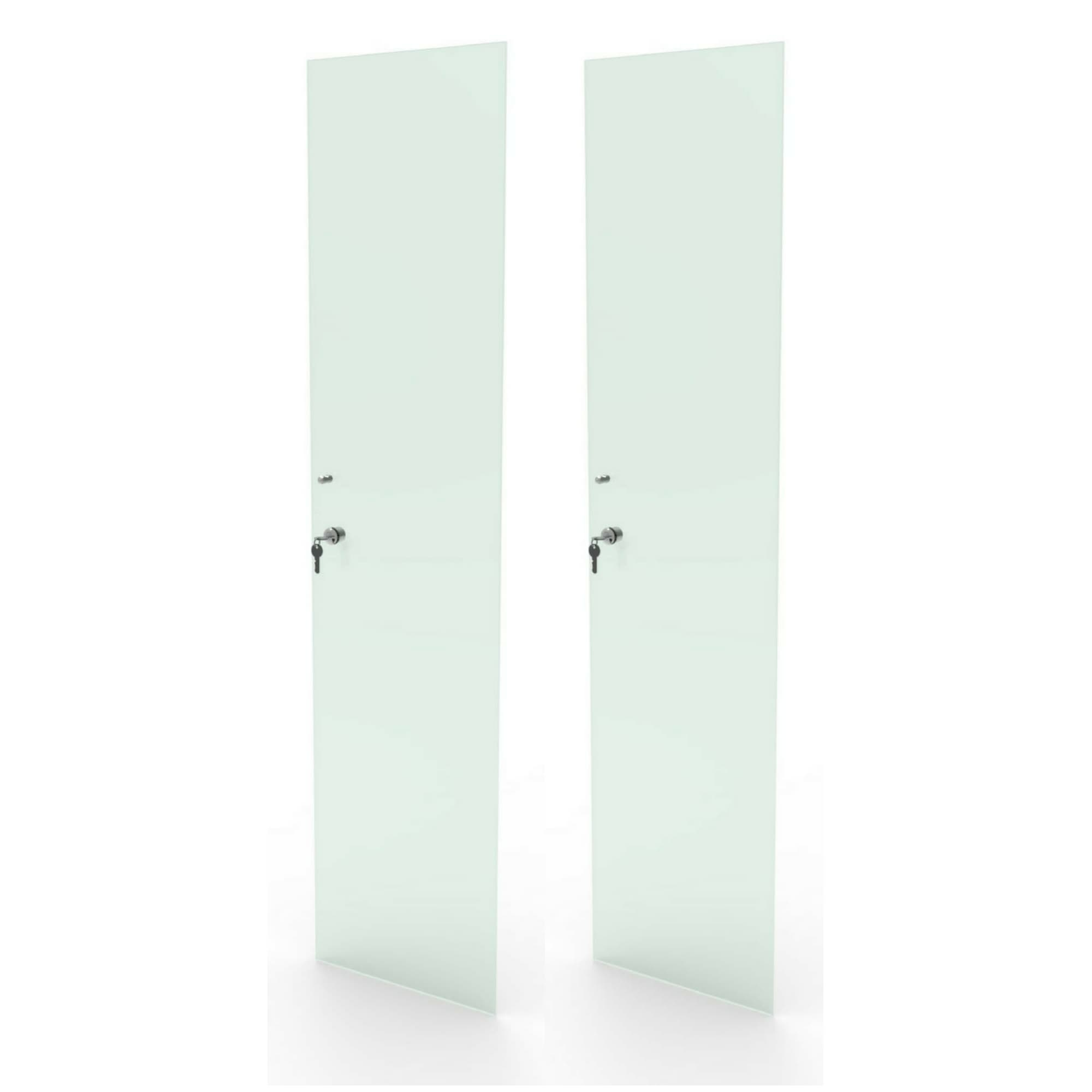 Kit 2 portas de vidro incolor com chave para estante bookcase Bürohaus