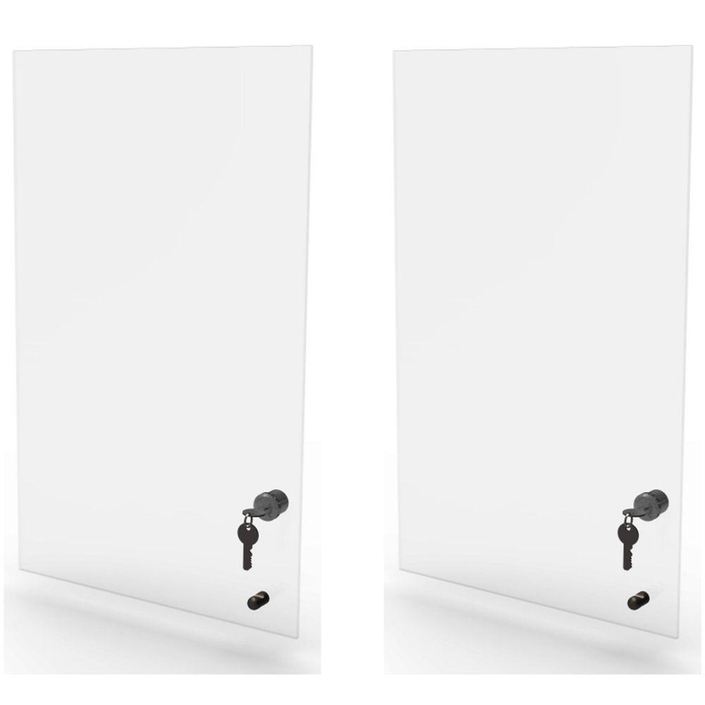 Kit 2 portas de vidro incolor com chave para estante EC Bürohaus
