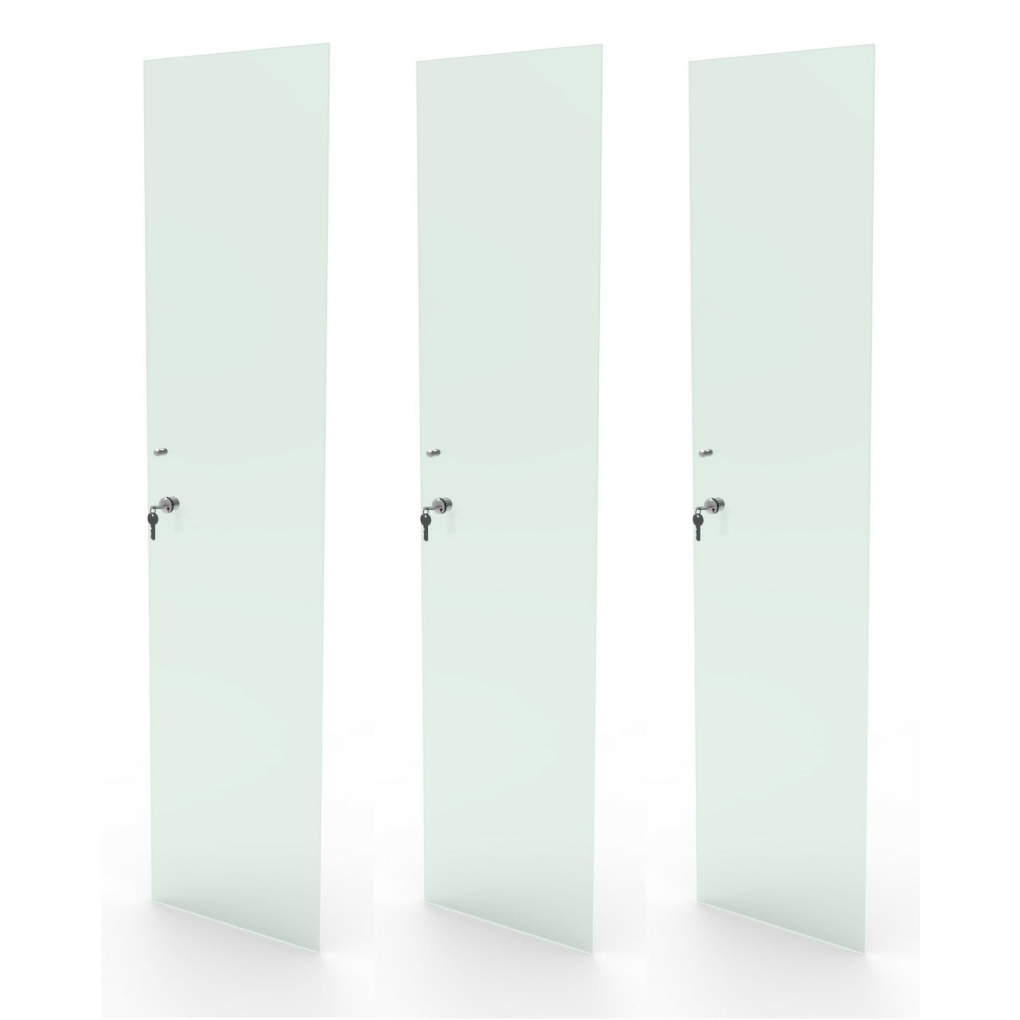 Kit 3 portas de vidro incolor com chave para estante discos LP vinil