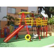 PLAYGROUND DE MADEIRA MULTI-BRINQUEDO COM PONTE