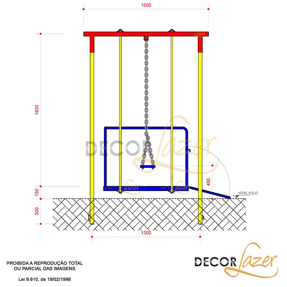 PLAYGROUND ADAPTADO CADEIRANTE BALANÇO AMERICANO DUPLO   - Casinha Infantil Decorlazer