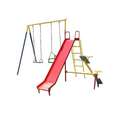 Playground de Ferro Poupa Espaço - Balanço, Gangorra e Escorregador